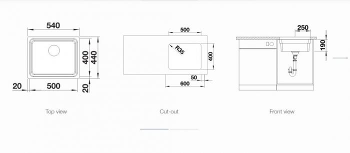 Chiuveta inox Blanco ETAGON 500-U InFino fara excentric [2]