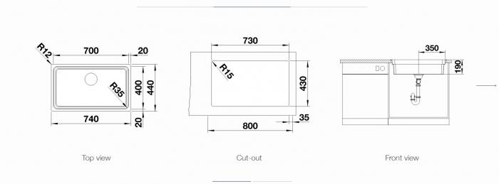 Chiuveta inox Blanco ETAGON 700-U InFino fara excentric montaj pe blat [5]