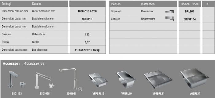Chiuveta inox bucatarie ArtInox Layer BRL 104 cu montaj pe/sub blat [6]