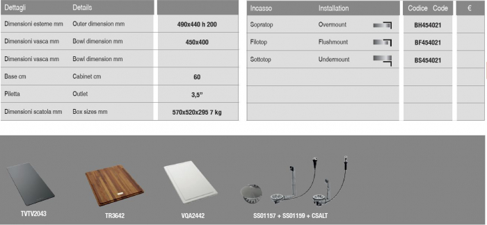 Chiuveta inox bucatarie ArtInox Quadra 45, 490x440 mm [1]