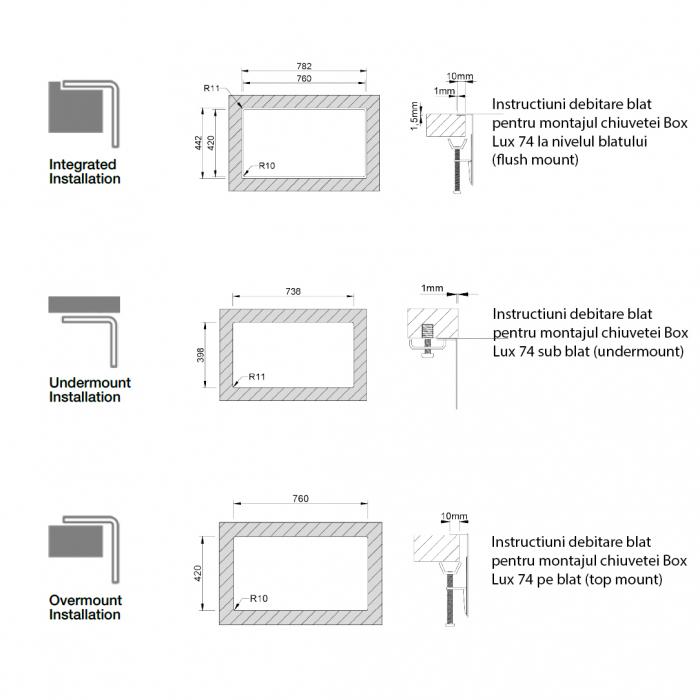 Chiuveta bucatarie inox CookingAid Box Lux 74 cu ventil scurgere dreptunghiular si accesorii montaj [10]