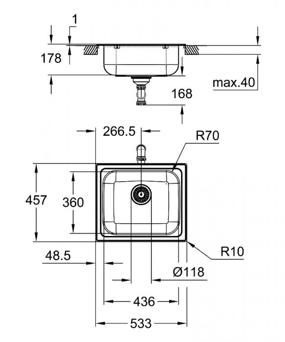 Chiuveta inox bucatarie Grohe  K200 60-S, 53.3x45.8,cu 1 cuva,montaj incastrat [2]