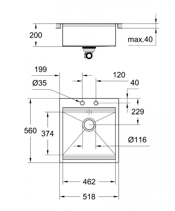 Chiuveta inox bucatarie Grohe K800 cu 1 cuva, 52x56 cm,cu excentric [7]