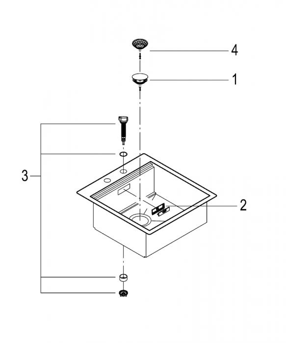 Chiuveta inox bucatarie Grohe K800 cu 1 cuva, 52x56 cm,cu excentric [8]