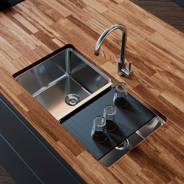 Chiuveta bucatarie cu 2 cuve inox CookingAid UNA 75 cu Bonus: tocator Versus din ABS reversibil in scurgator vase + accesorii montaj [3]
