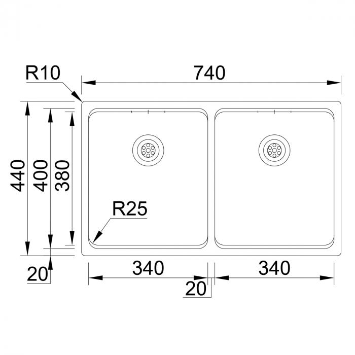 Chiuveta bucatarie cu 2 cuve inox CookingAid UNA 75 cu Bonus: tocator Versus din ABS reversibil in scurgator vase + accesorii montaj [11]