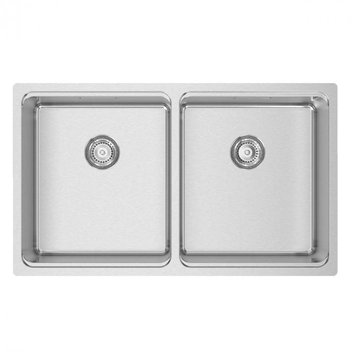 Chiuveta bucatarie cu 2 cuve inox CookingAid UNA 75 cu Bonus: tocator Versus din ABS reversibil in scurgator vase + accesorii montaj [6]