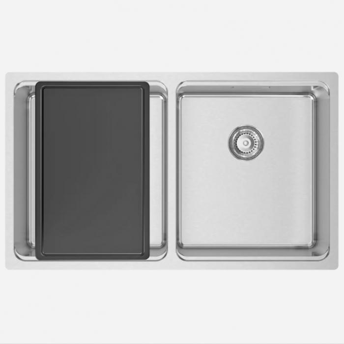 Chiuveta bucatarie cu 2 cuve inox CookingAid UNA 75 cu Bonus: tocator Versus din ABS reversibil in scurgator vase + accesorii montaj [8]