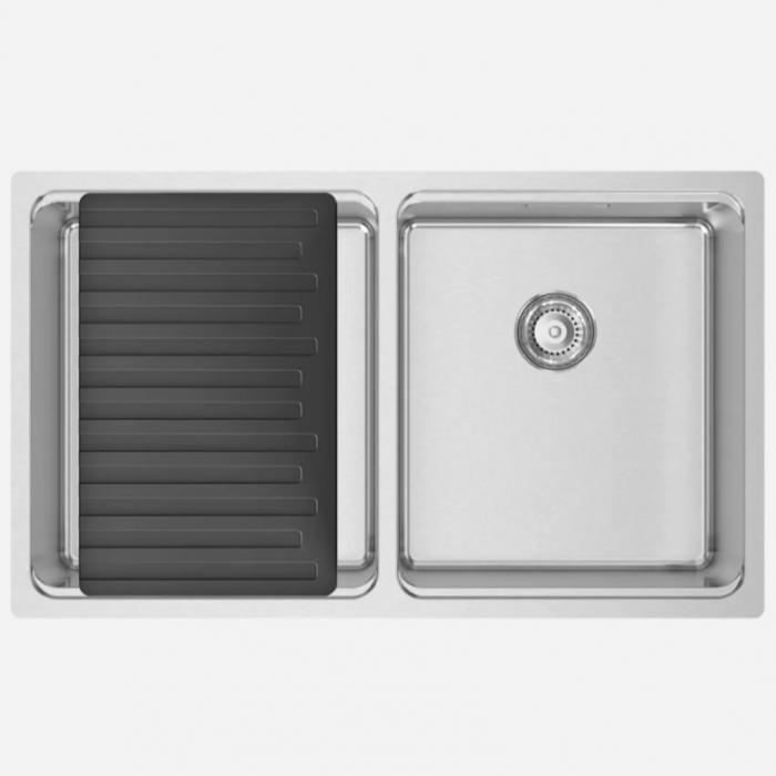 Chiuveta bucatarie cu 2 cuve inox CookingAid UNA 75 cu Bonus: tocator Versus din ABS reversibil in scurgator vase + accesorii montaj [9]