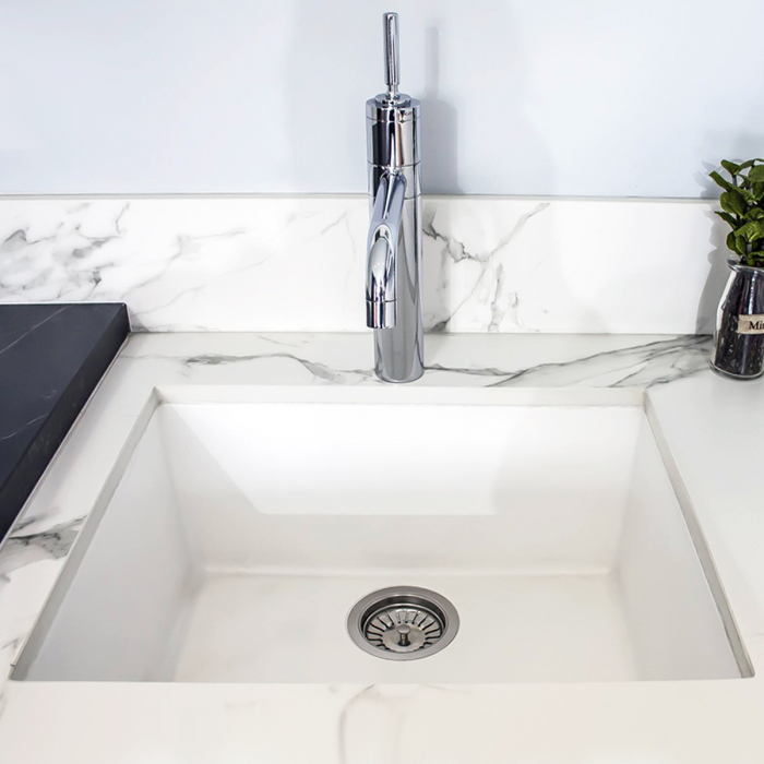 CookingAid Chiuveta bucatarie granit Cube ON5610 Alba / Polar White cu montaj sub blat + accesorii instalare [4]