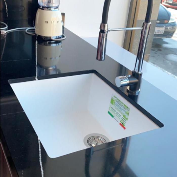 CookingAid Chiuveta bucatarie granit Cube ON5610 Alba / Polar White cu montaj sub blat + accesorii instalare [0]