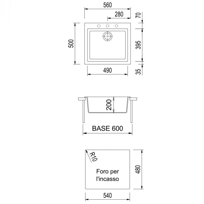 CookingAid Chiuveta bucatarie granit Cube ON5610 Alba / Polar White cu montaj sub blat + accesorii instalare [6]
