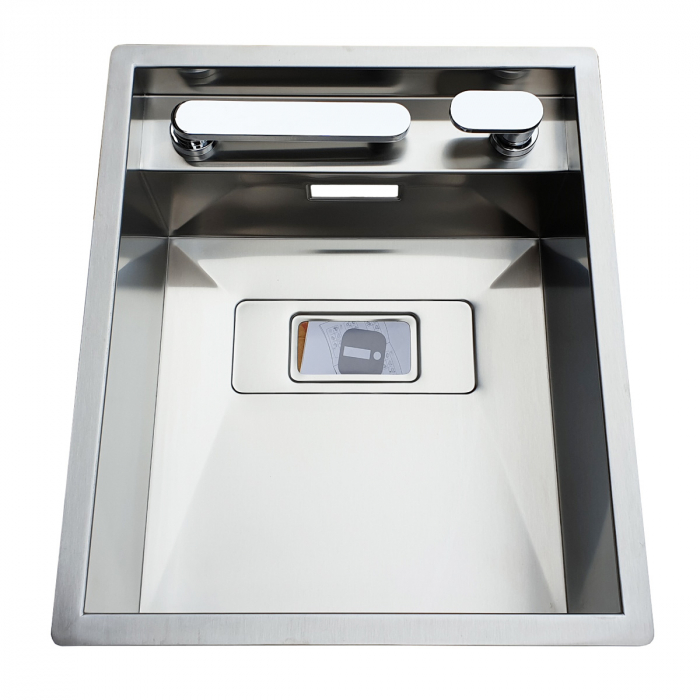 CookingAid Chiuveta bucatarie inox INVISIBLE 40R cu capac scurgere invizibil + accesorii montaj [10]
