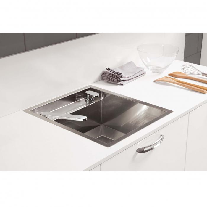 CookingAid Chiuveta bucatarie inox INVISIBLE 40R cu capac scurgere invizibil + accesorii montaj [5]