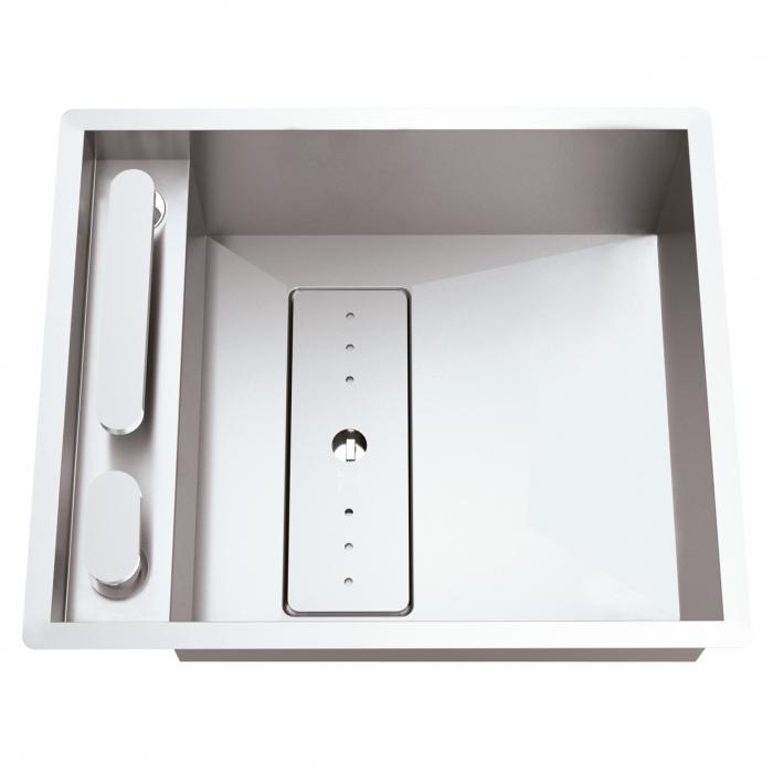 CookingAid Chiuveta bucatarie inox INVISIBLE 40R cu capac scurgere invizibil + accesorii montaj [1]