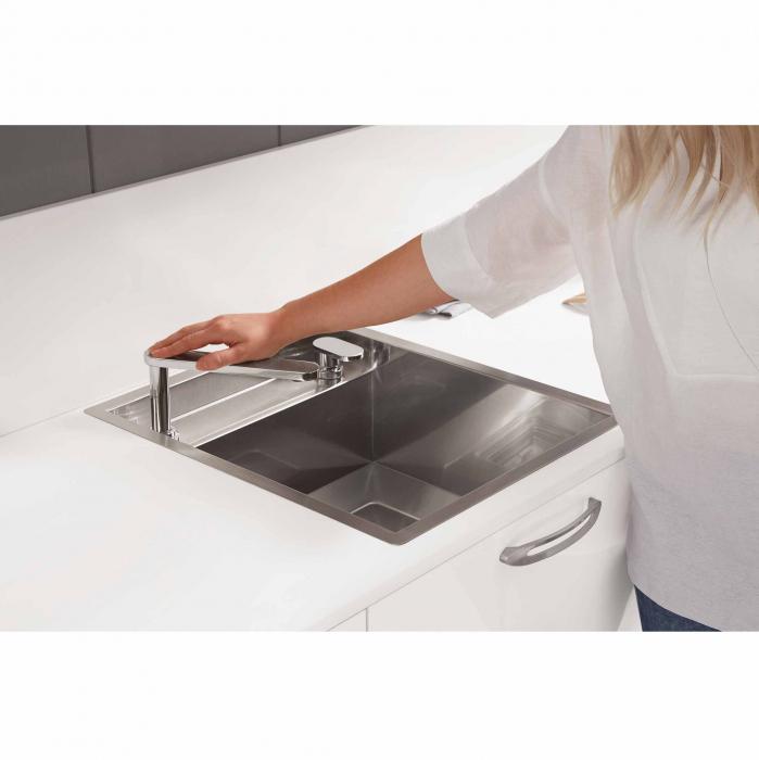 CookingAid Chiuveta bucatarie inox INVISIBLE 40R cu capac scurgere invizibil + accesorii montaj [4]