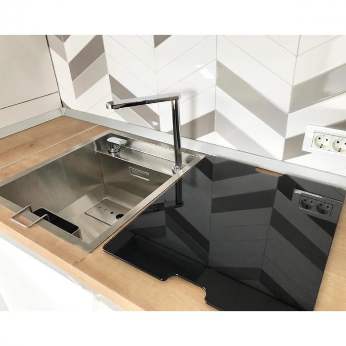 CookingAid Chiuveta bucatarie inox INVISIBLE 40R cu capac scurgere invizibil + accesorii montaj [7]