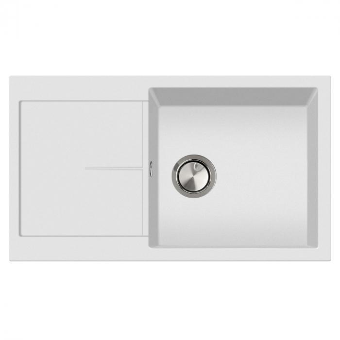 Chiuveta bucatarie granit CookingAid Infinity NF8610 Alba / Polar White reversibila stanga/dreapta cu picurator + accesorii montaj [1]