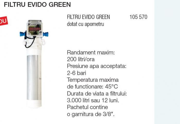 Filtru de carbon cu argint si debimetru EVIDO GREEN pentru bateriile de apa filtrata 0