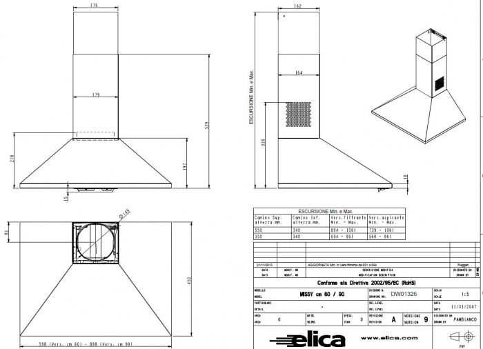Hota inox de bucatarie Turboair CERTOSA  60 cm [1]