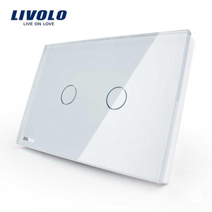 Intrerupator dublu cu touch Livolo din sticla – standard italian VL-C302 0