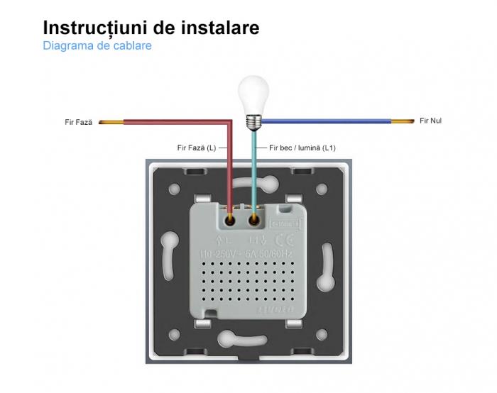 Intrerupator Livolo cu senzor de prezenta / miscare PIR, Zigbee, rama de sticla 4