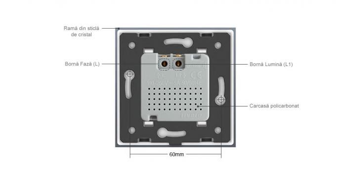 Intrerupator Livolo cu senzor de prezenta / miscare PIR, Zigbee, rama de sticla 3