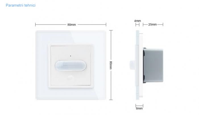 Intrerupator Livolo cu senzor de prezenta / miscare PIR, Zigbee, rama de sticla 2