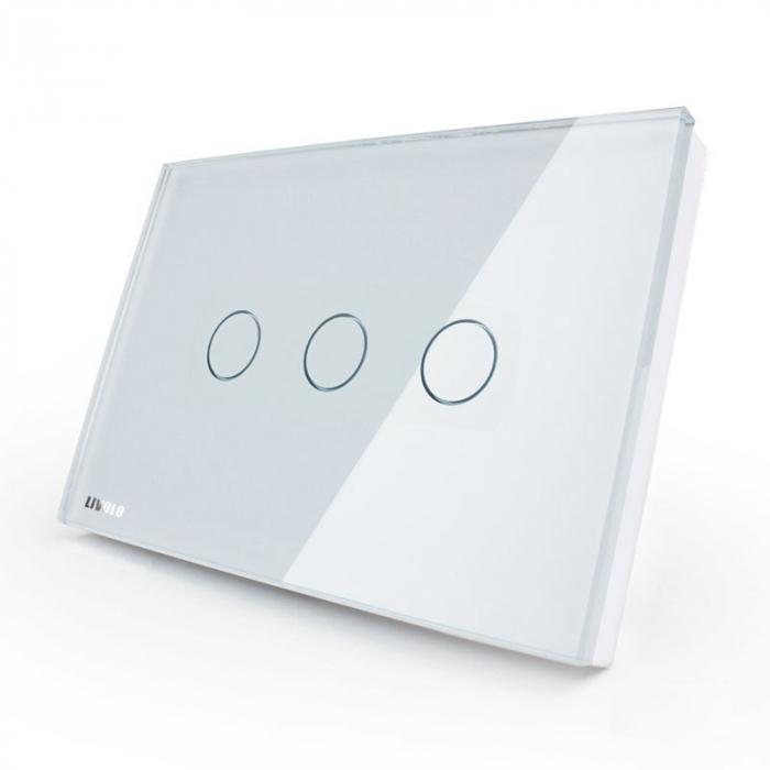 Intrerupator tactil cap scara/cruce Livolo triplu standard italian [0]
