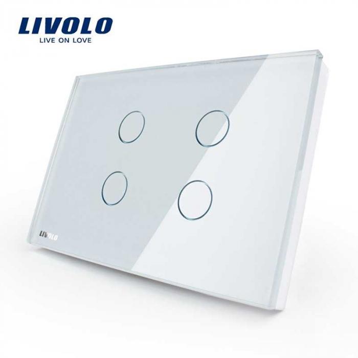 Intrerupator tactil cvadruplu Livolo din sticla – standard italian 0