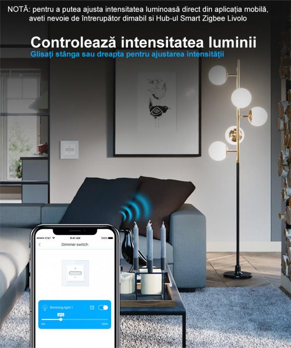 Intrerupator tactil Livolo WiFi, Zigbee, cap scara / cruce, dimabil, intensitate lumina ajustabila 4