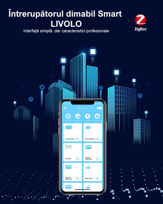 Intrerupator tactil Livolo WiFi, Zigbee, cap scara / cruce, dimabil, intensitate lumina ajustabila 2