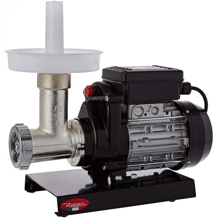 Mașină de tocat carne Reber 9502 N n.5, Putere 400W, Producție 30~50kg/h, Corp din fontă tratată, Găuri sită 6mm [0]