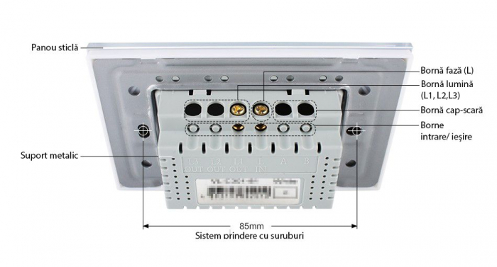 Modul intrerupator tactil simplu cap scara/cruce Livolo,standard italian [2]