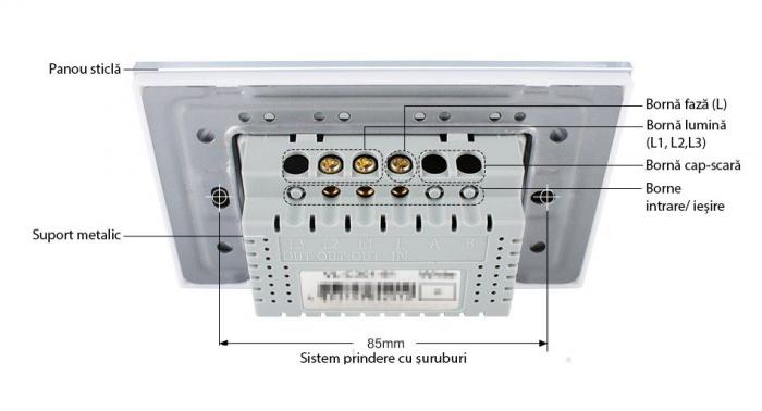 Modul Intrerupator triplu cap scara cu touch Livolo standard italian 3
