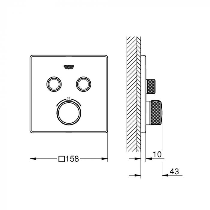 Ornament patrat Grohe Grohtherm SmartControl cu termostatat 2 valve 1