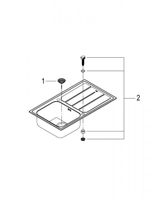 Pachet chiuveta de bucatarie INOX K500 si baterie Grohe Minta [4]