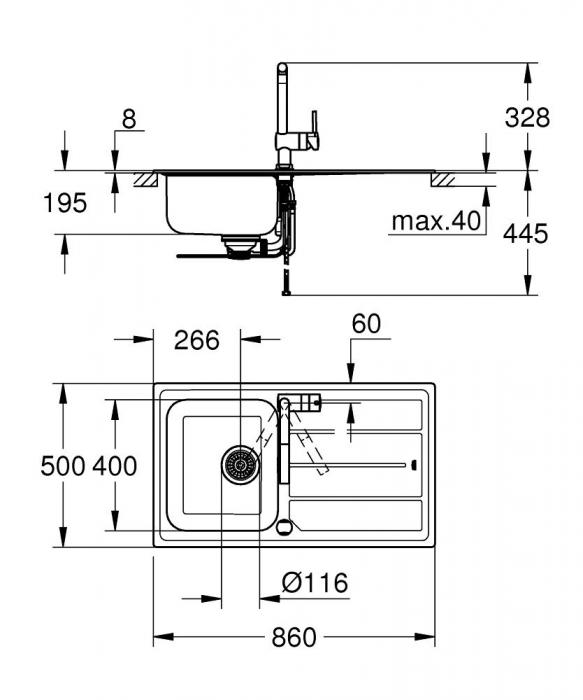 Pachet chiuveta de bucatarie INOX K500 si baterie Grohe Minta [5]