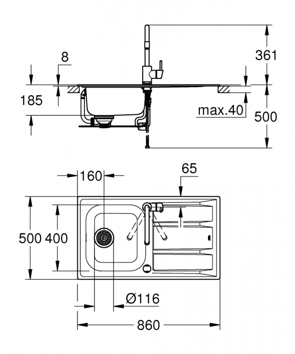 Pachet chiuveta Grohe K400 din inox  si baterie Concetto [5]