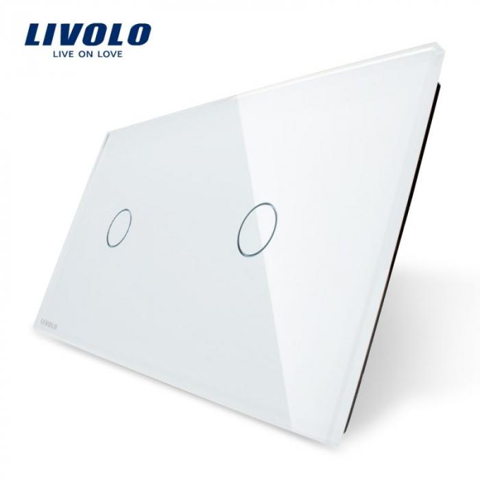 Panou intrerupator 2x simplu Livolo,BB-C7-C1/C1 0