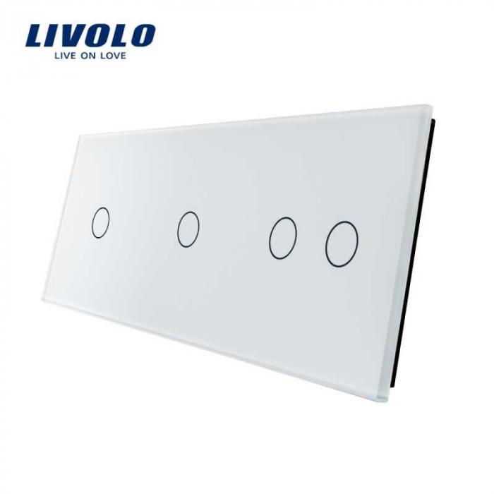 Panou Întrerupător simplu+simplu+dublu Livolo, Alb Livolo BB-C7-C1/C2 0