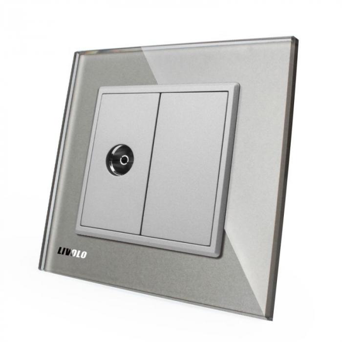 Priză simplă TV Livolo, Argintiu VL-C791V-15 0