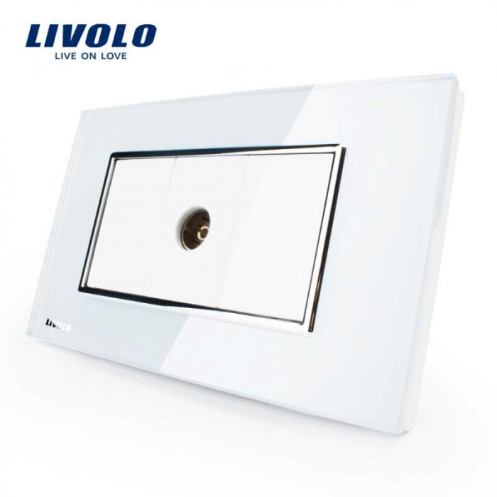 Priza simpla TV Livolo cu rama din sticla – standard italian 0