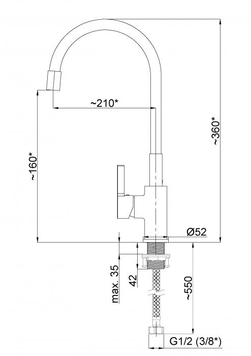 Rubineta Flexy-33 BK Baterie bucatarie cu furtun flexibil, culoare neagra [4]