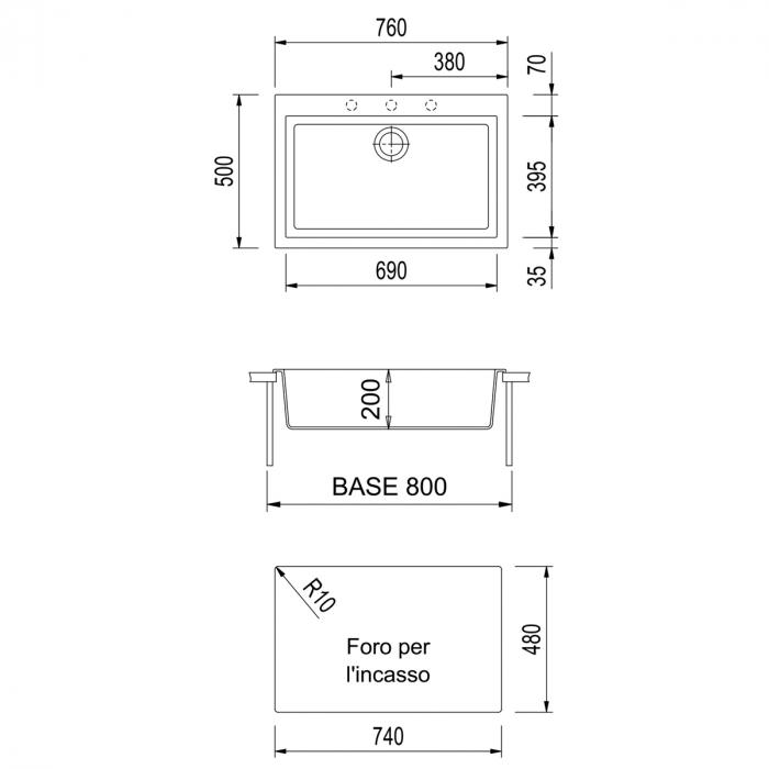 Set chiuveta bucatarie granit Cube ON7610 Bej Pigmentat / Avena + Baterie CookingAid Indiana + gratar protectie fund chiuveta + accesorii montaj 3