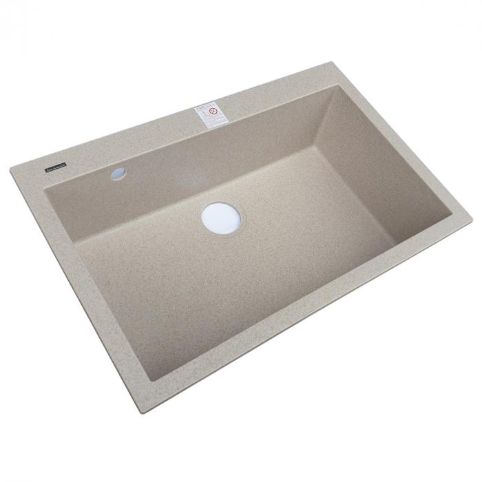 Set chiuveta bucatarie granit Cube ON7610 Bej Pigmentat / Avena + Baterie CookingAid Indiana + gratar protectie fund chiuveta + accesorii montaj 4
