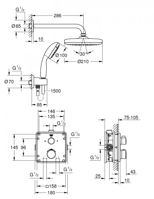 Sistem de dus ingropat Grohe Grohtherm Tempesta 210 incastrat cu baterie patrata 2