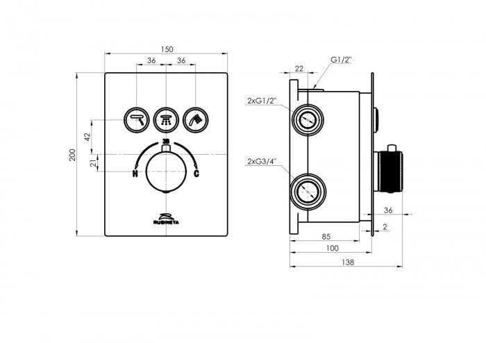 Sistem de dus incastrat Rubineta Thermo 3F OLO cu baterie termostatica [11]