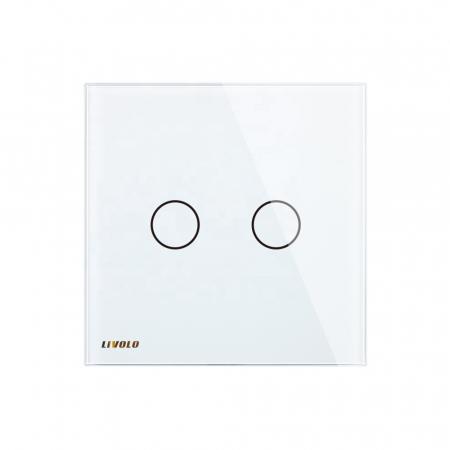 Întrerupător dublu Livolo, wireless, Alb1