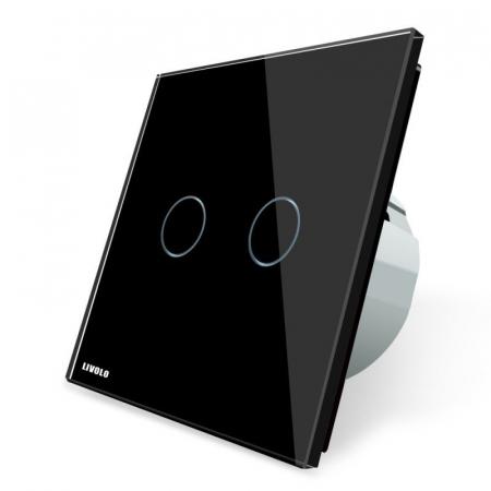 Întrerupător dublu Livolo, wireless, Negru0